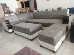 Achromatic L Shape Sofa Set Design