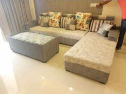 Blanched Almond L Shape Corner Sofa Set
